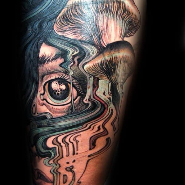 Bstract Eye Arm Male Tattoo With Mushroom Design