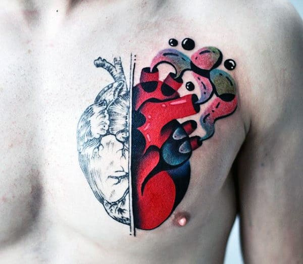 Bubble Heart Original Guys Chest Tattoos