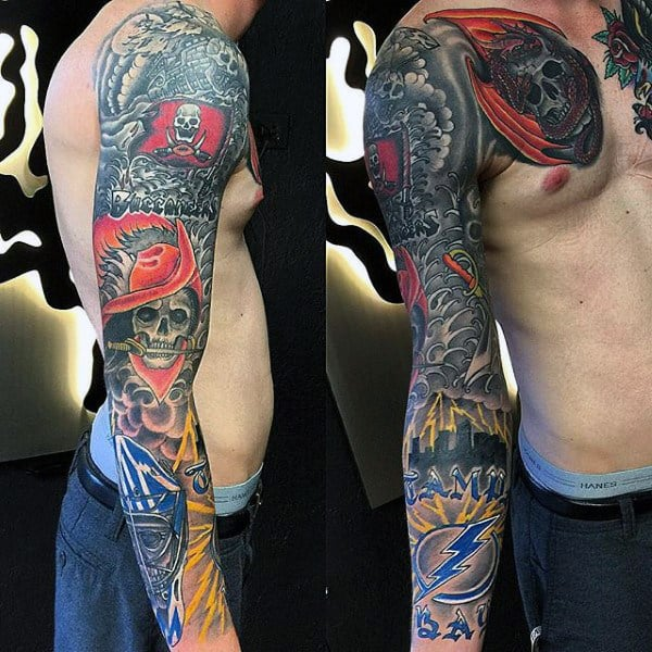 Buccaneers Mens Football Themed Full Sleeve Tattoo