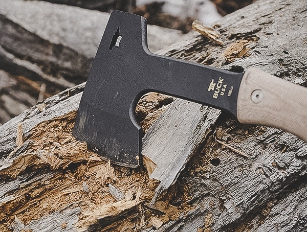 Buck Knives Compadre Camp Axe Review Cutting Into Wood