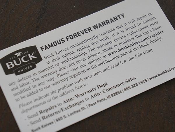 Buck Knives Famous Forever Warranty