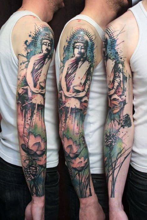 Buddha And Lotus Full Sleeved Tattoo For Men