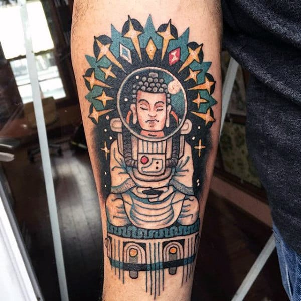 Buddha In Space Tattto On Arms For Guys