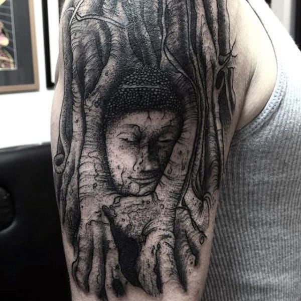 Buddha Mens Tree Roots Shaded Arm Tattoo
