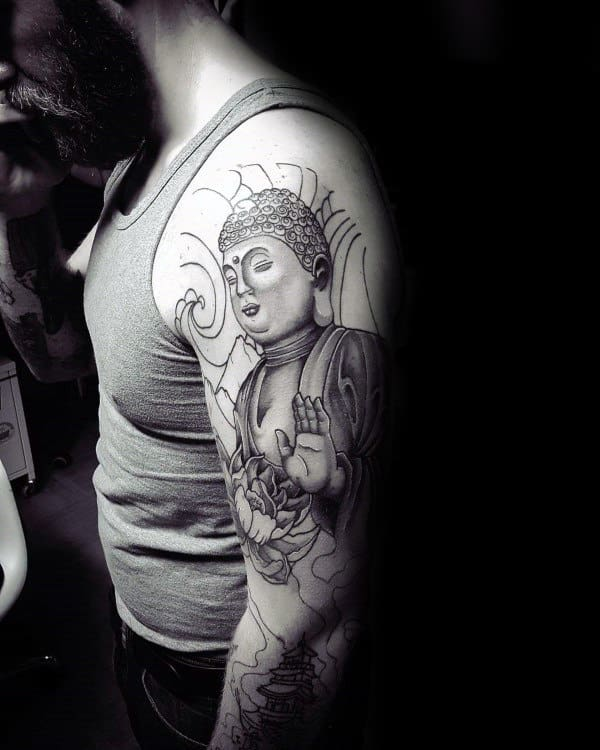 Buddha Mens Upper Arm Lotus Flower Tattoo