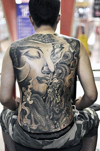 Buddha With Fire And Snakes Tattoo Full Back For Men