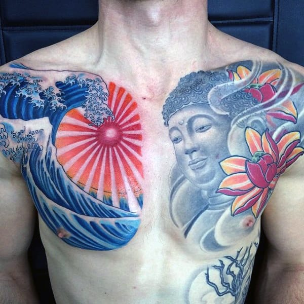 Buddha With Rising Sun Waves Mens Chest Tattoo