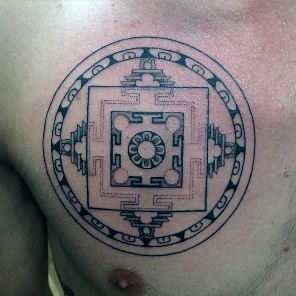 Buddhism Enlightment Symbol Tattoo On Chest For Guys