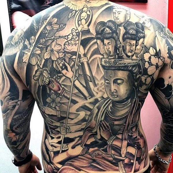 Buddhist Culture Tattoo On Full Back For Males