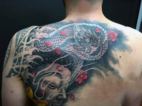 Buddhist Mens Dragon Upper Back Tattoo