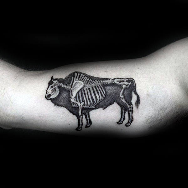 Buffalo Bison X Ray Mens Arm Tattoo With Skeleton Bones