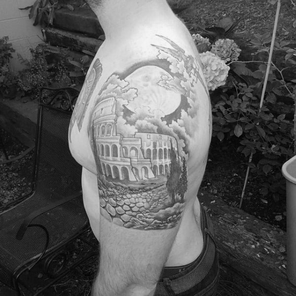 Building And Full Moon Tattoo Mens Quarter Sleeve