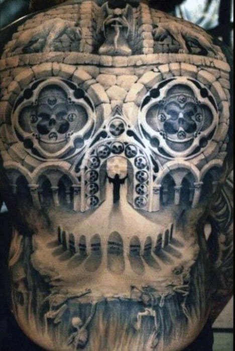 Building Architecture Optical Illusion Skull Face Design On Mans Back