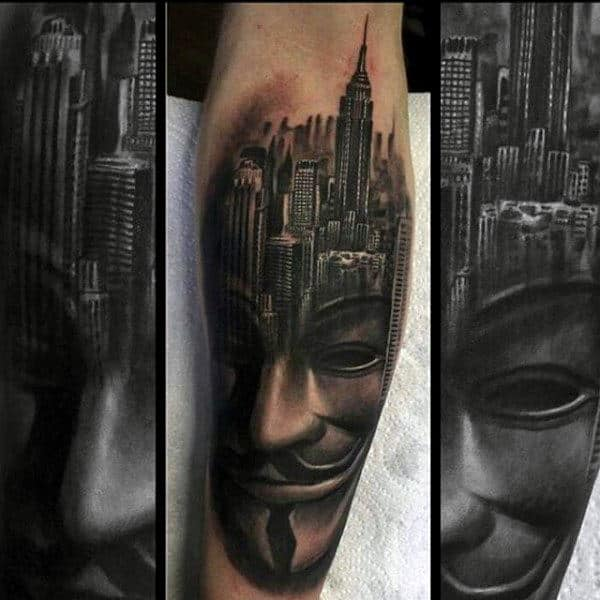 Building Mask Mens Back Of Leg Tattoos