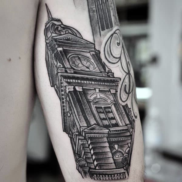 Building With Clock Mens Tricep Tattoo Designs