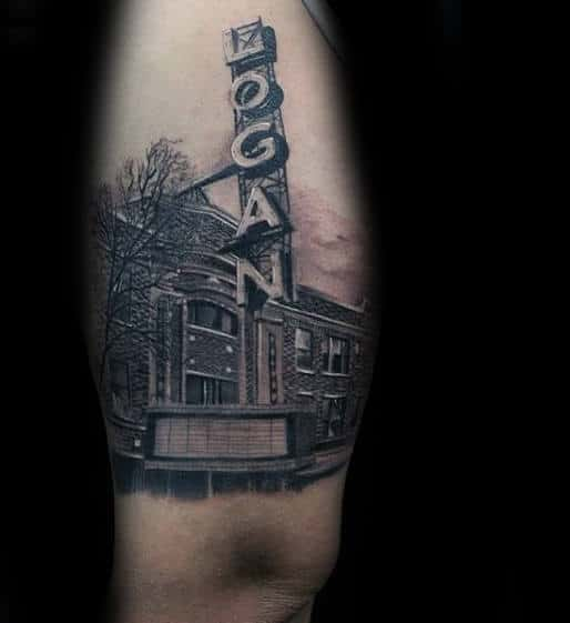 Building With Sign Detailed Mens Thigh Tattoo Ideas