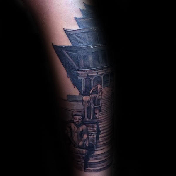 Building With Stairs Mens Forearm Tattoo