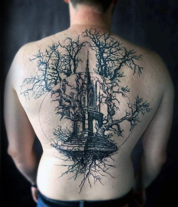 Building With Tree Of Life Mens Full Back Tattoos