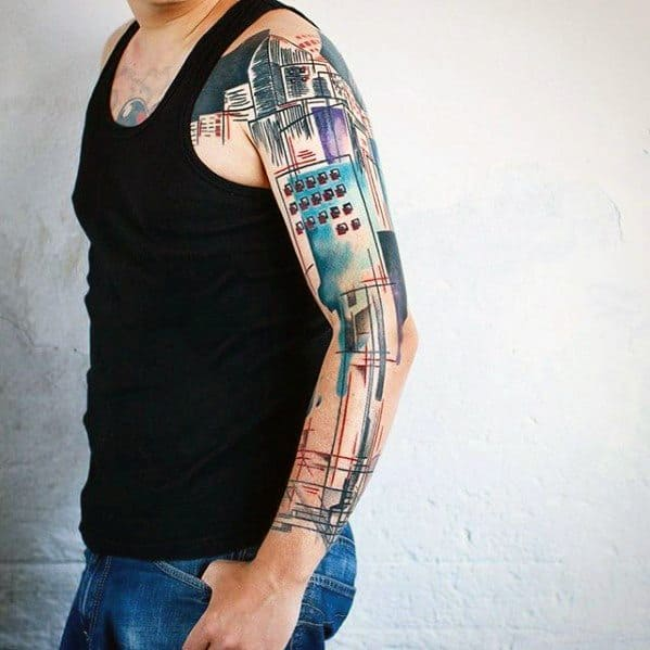 Buildings City Skyline Artsy Mens Watercolor Arm Tattoo