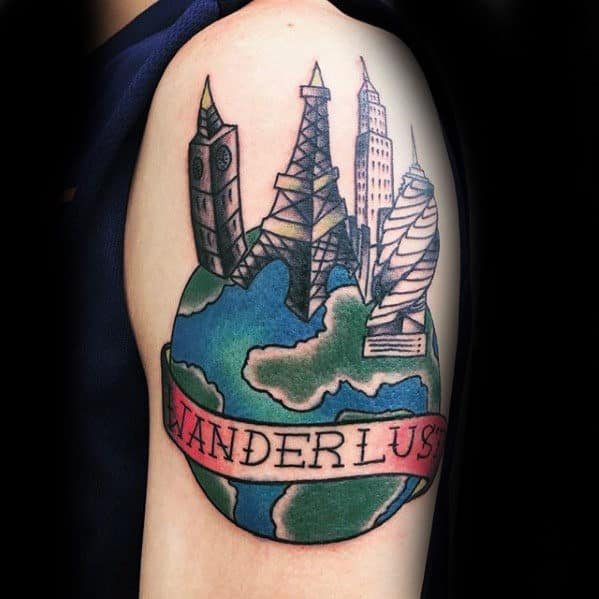 Buildings With Globe Wanderlust Mens Old School Arm Tattoo