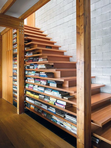 Built In Bookcase Under Stairs Storage Design Ideas