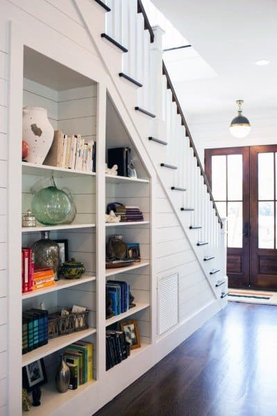 Built In Bookshelves Under Stairs Storage Ideas