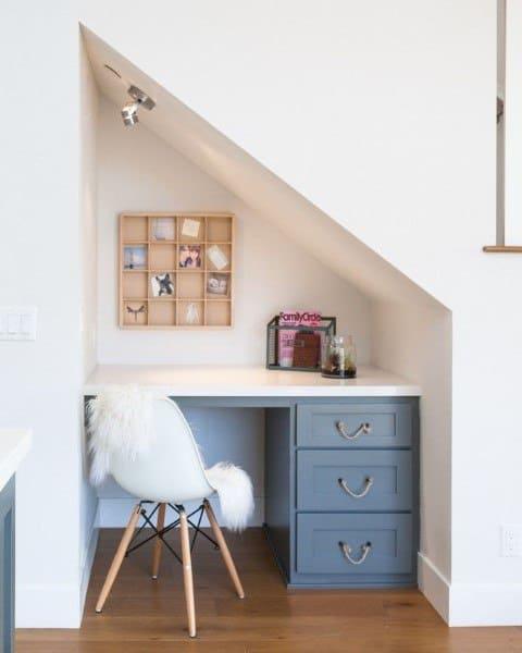 Built In Desks Under Staircase