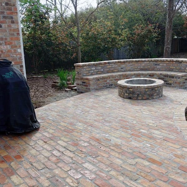 Built In Fire Pit Brick Patio Design Inspiration
