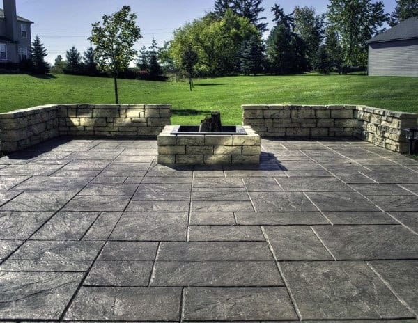 Built In Fire Pit Concrete Patio Flooring Ideas & 60 Concrete Patio Ideas - Unique Backyard Retreats
