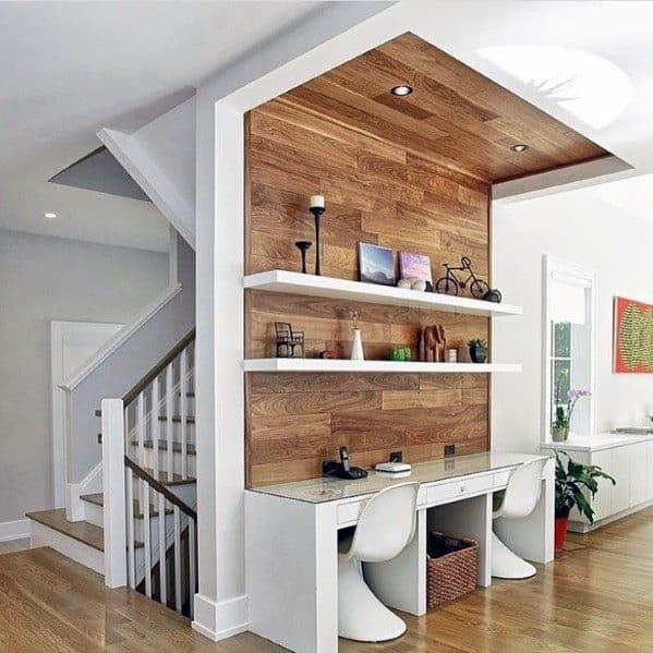 Built In Home Office Desk Hardwood Walls