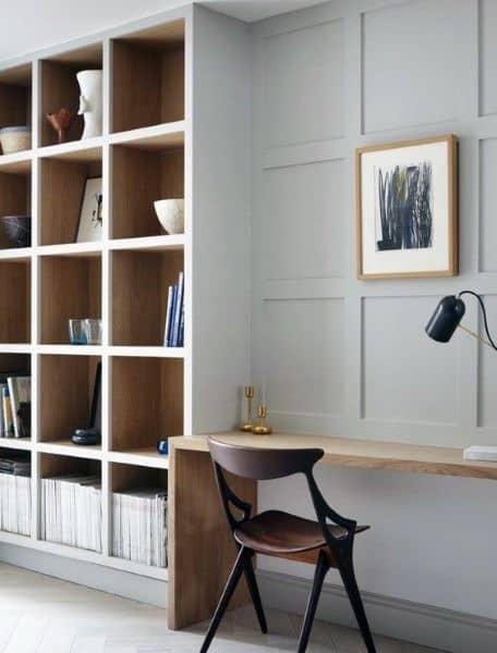 Built In Light Grey Wood Bookshelf Ideas