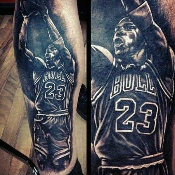 Bull 23 Michael Jordan Mens Leg Tattoo Designs