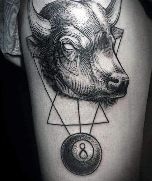 Bull 8 Ball Male Geometic Tattoo Ideas