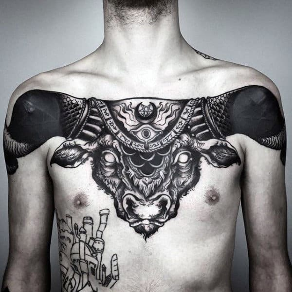 Bull Badass Mens Blackwork Chest Tattoo