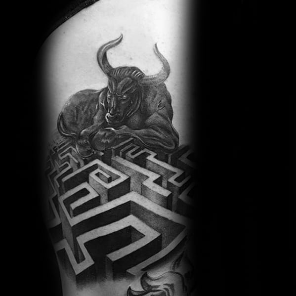 Bull With Maze 3d Arm Mens Tattoo Ideas