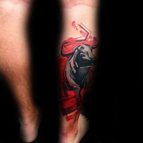 Bull With Red Watercolor Background Unusual Guys Back Of Leg Tattoos