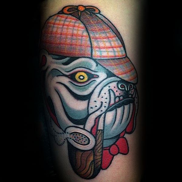Bulldog Sherlock Holmes Guys Arm Tattoo Design Ideas