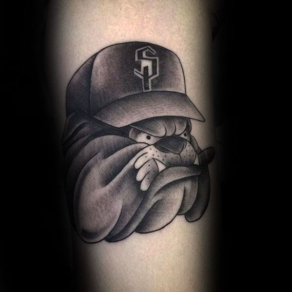 Bulldog With Hat Mens Shaded Black And Grey Ink Forearm Tattoo