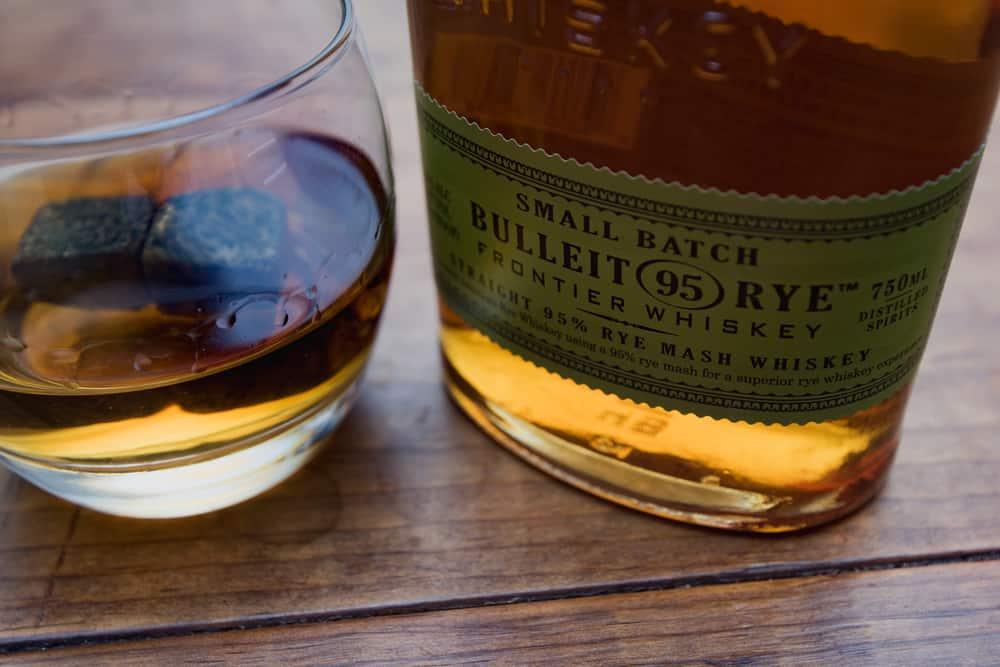 bulleit rye small batch whisky bottle