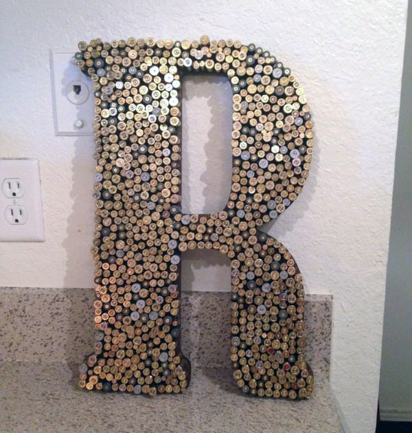 Bullet Casing Man Cave Decor Letter Sign
