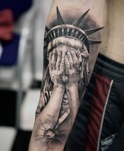 Bullet Hole Statue Of Liberty Tattoo For Males