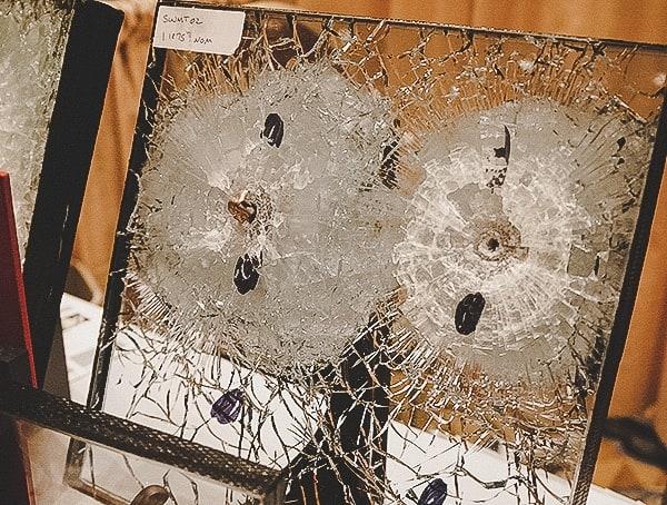 Bullets Through Glass Block Window