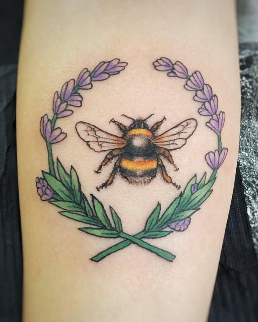 Bumble Bee Colored Lavander Tattoo