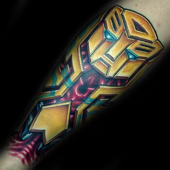 Bumblebee Mens Transformers 3d Tattoo On Forearm