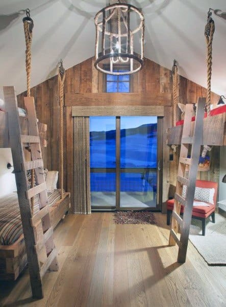 Bunk Bed Hanging Bed Ideas With Rustic Design