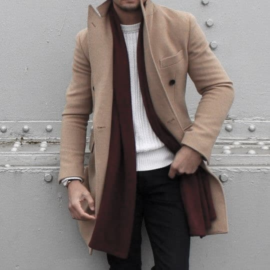 Burgundry Scarf With Tan Coat Male Style Winter Outfits