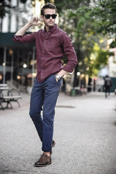 Burgundy Dress Shirt With Jeans Style Casual Wear Looks Men