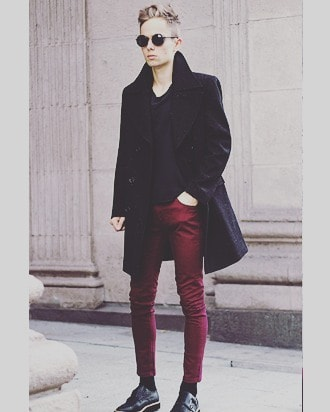 Burgundy Pants Mens Wear Street Wear