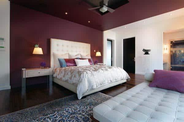 Burgundy Red Color Bedroom Walls