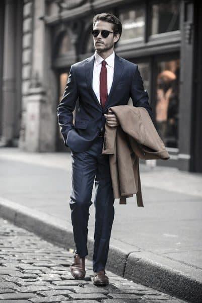 Burgundy Tie White Dress Shirt Dapper Mens Navy Blue Suit Styles